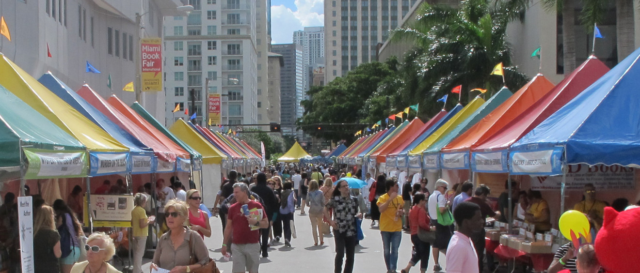 colorful tents at the miami book fair