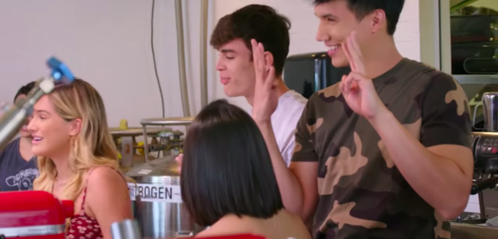 Chachi Gonzalez, Haley Pham, Hayes Grier, and Aaron Burriss create their own ice cream flavors at Lulu's!